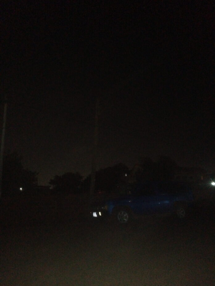 Total darkness on the streets of Tema Newtown
